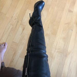 Jimmy Choo thigh high leather boots size 5